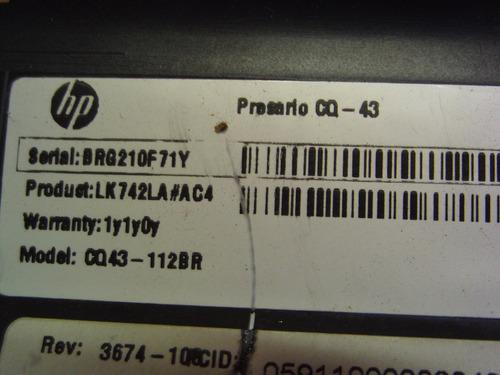 carcaça base inferior notebook hp compaq presario cq43(2124)