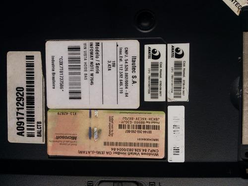 carcaça base inferior notebook itautec w7635 / w7630 / w7645