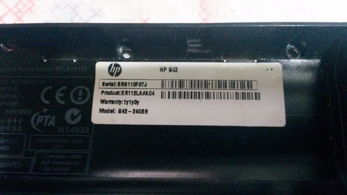 carcaça chassis notebook hp g42 240br