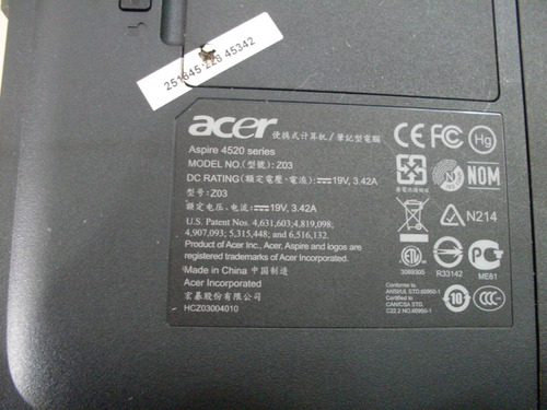carcaça inferior com touchpad notebook acer aspire 4520