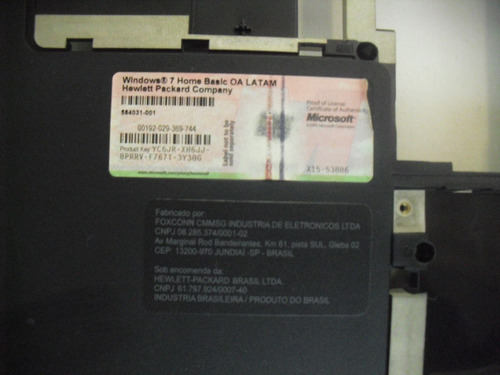 carcaça inferior notebook hp g42 cx09