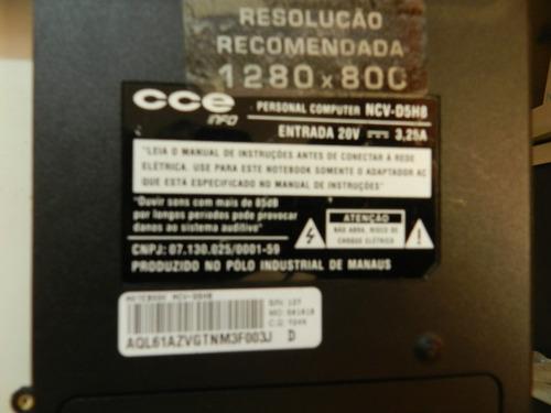 carcaça traseira p/ notebook cce ncv-d5hb