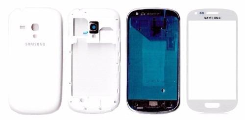 carcaça + vidro sams galaxy s3 mini i8190 i8200 + 3m branco