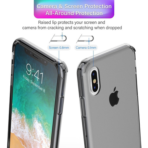 carcasa apple iphone x case, basacc crystal pc/tpu rubber ca