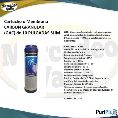 carcasa azul 10 pulgada filtro agua cartucho carbon granular
