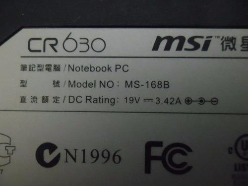 carcasa bottom case inferior notebook  msi cr630 a6300