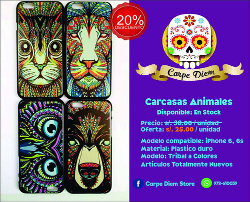carcasa case animales tribal bohemio iphone 6 6s