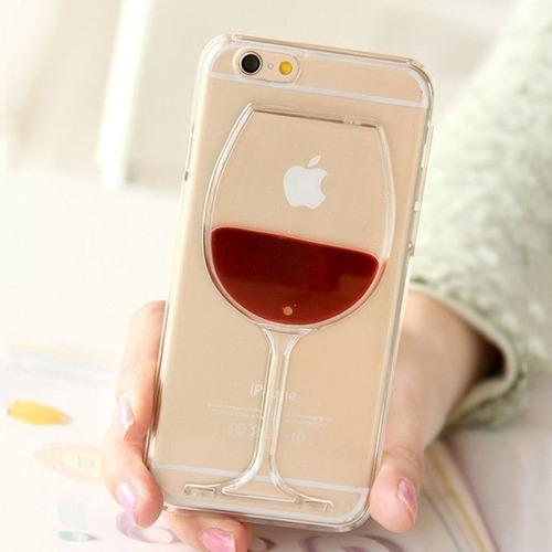 carcasa case copa de vino liquido transparente iphone 6, 6s