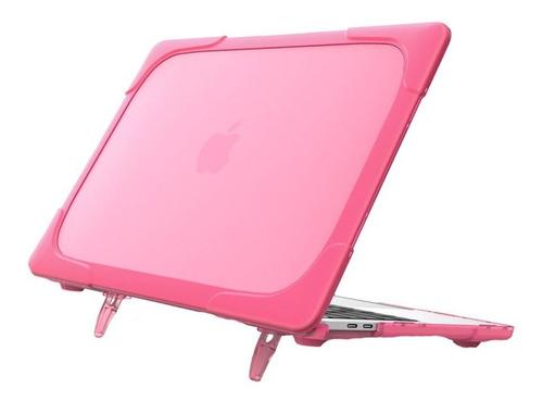 carcasa case funda macbook anti impacto pro air rosa soporte