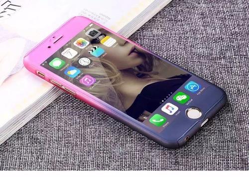 carcasa case protector 360 para iphone 7 + fibra de vidrio