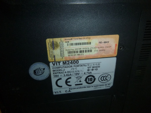 carcasa de abajo  m2400 -- laptop negra
