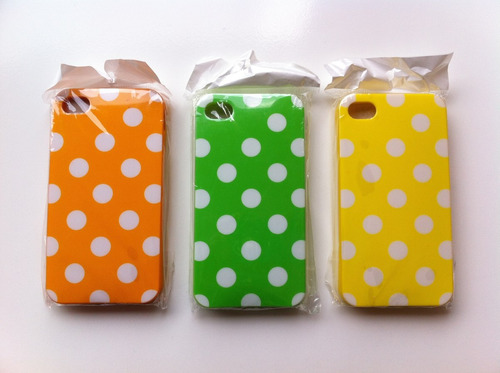 carcasa forro protector iphone 4 y 4s colores y puntos