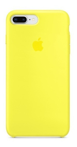 carcasa funda de silicona iphone 7 plus y 8 plus amarillo