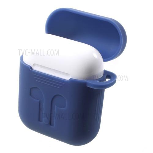 carcasa funda silicona protectora azul marino para airpods