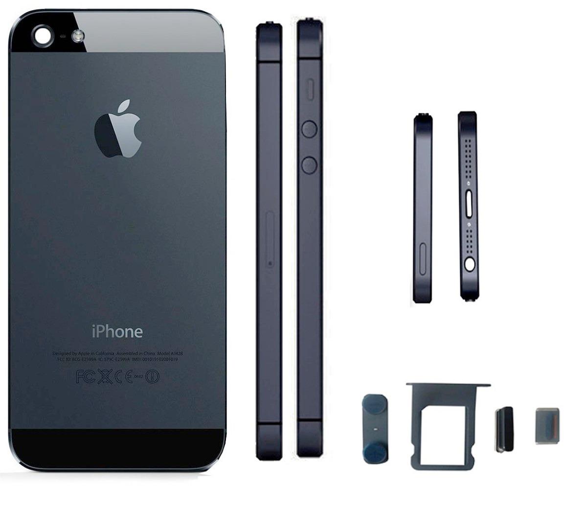 carcasa iphone 5 5g negra completa con botones y bandeja. Black Bedroom Furniture Sets. Home Design Ideas