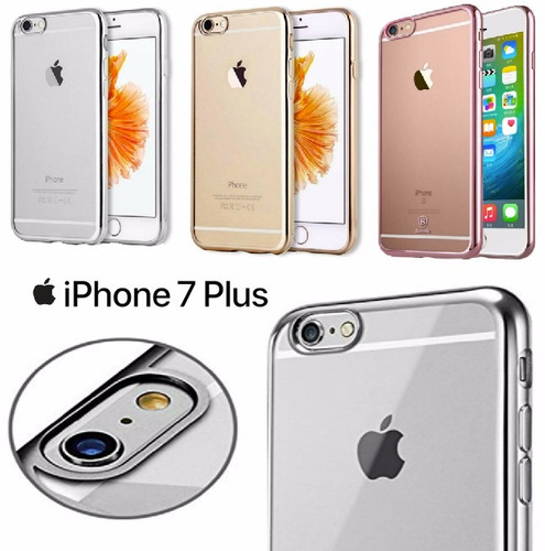 carcasa iphone 7 plus marco metalizado forro transparente