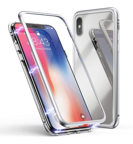carcasa magnetica reforzada silver para iphone xs