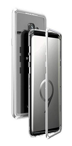 carcasa magnetica reforzada silver para samsung s9 plus