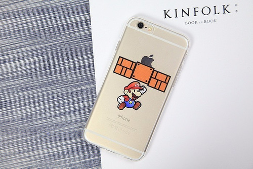 carcasa mario bros transparente iphone 6, 6s, 6plus, 6splus