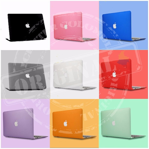carcasa mate macbook pro 13  negra  - troquel logo, sellada