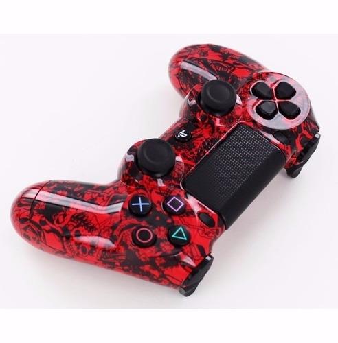 carcasa para control ps4 diseño calavera roja  mas regalos