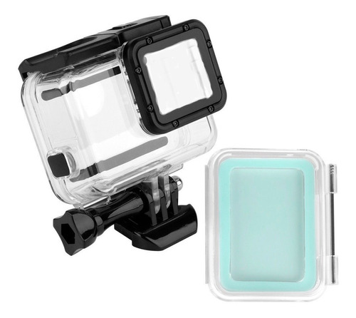 carcasa para gopro hero 5, 6 y 7 black+tapa touch sumergible