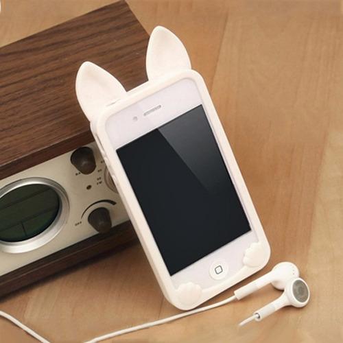 carcasa para iphone 4 4s gato blanco silicona