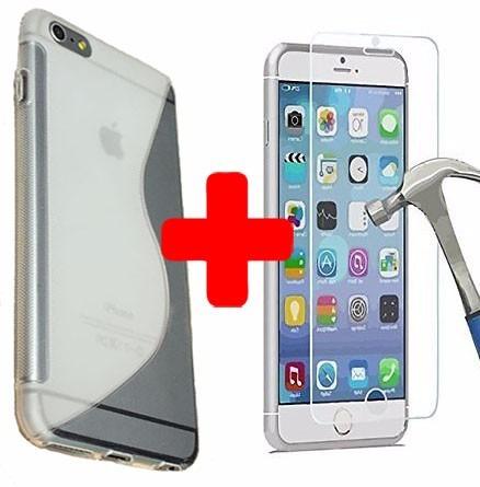 carcasa para iphone 6 silicona diseño + protector de vidrio