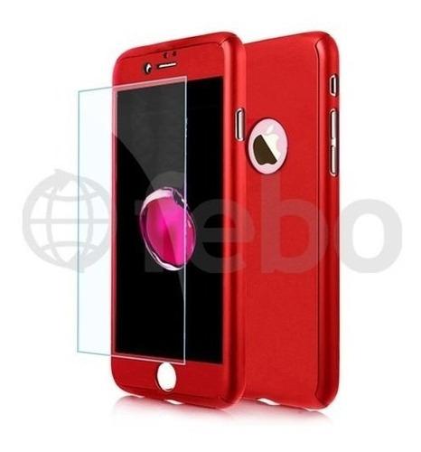 carcasa protector full 360 + vidrio templado iphone 7 plus