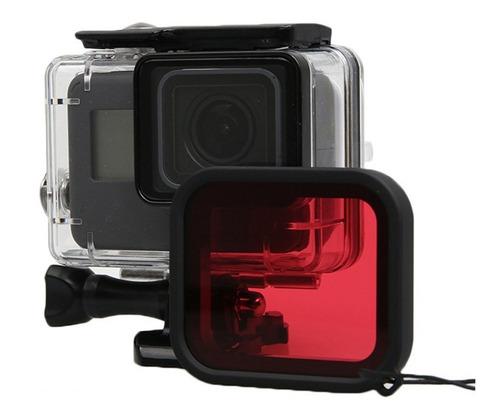 carcasa protectora + filtro rojo gopro 7 black / 5 / 6 buceo