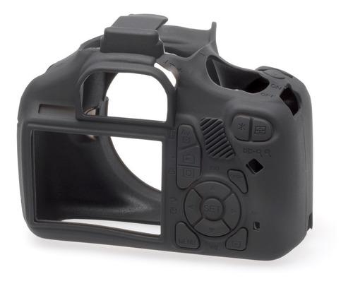 carcasa silicon easycover negro canon 1100d t3 + mica lcd