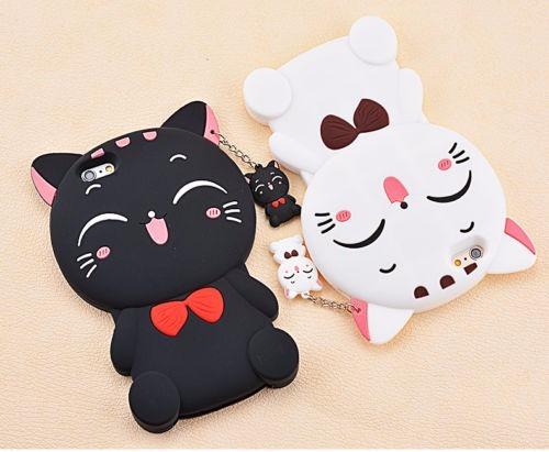 carcasa silicona gato blanco/negro para iphone 7/7s/7 plus