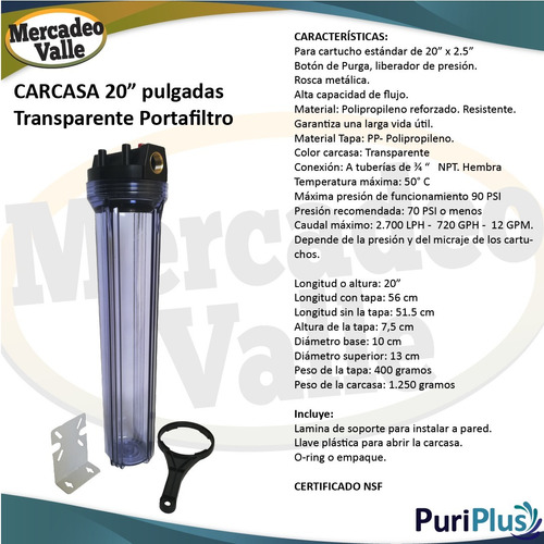 carcasa trasparente 20 pulgada cartucho carbon granular slim