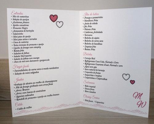 cardápio menu de casamento ( 20 unidade) - modelo m02