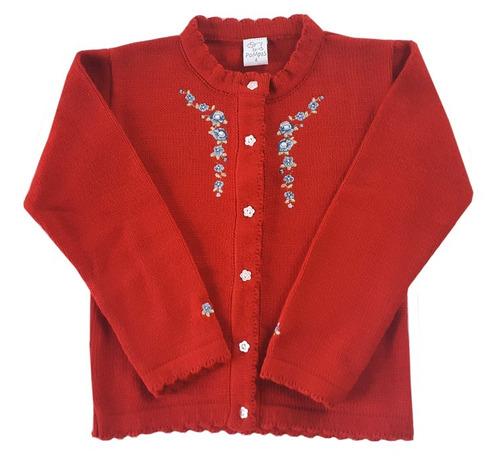 cardigan bordado para niñas rojo t.1 al 10- marca pompas
