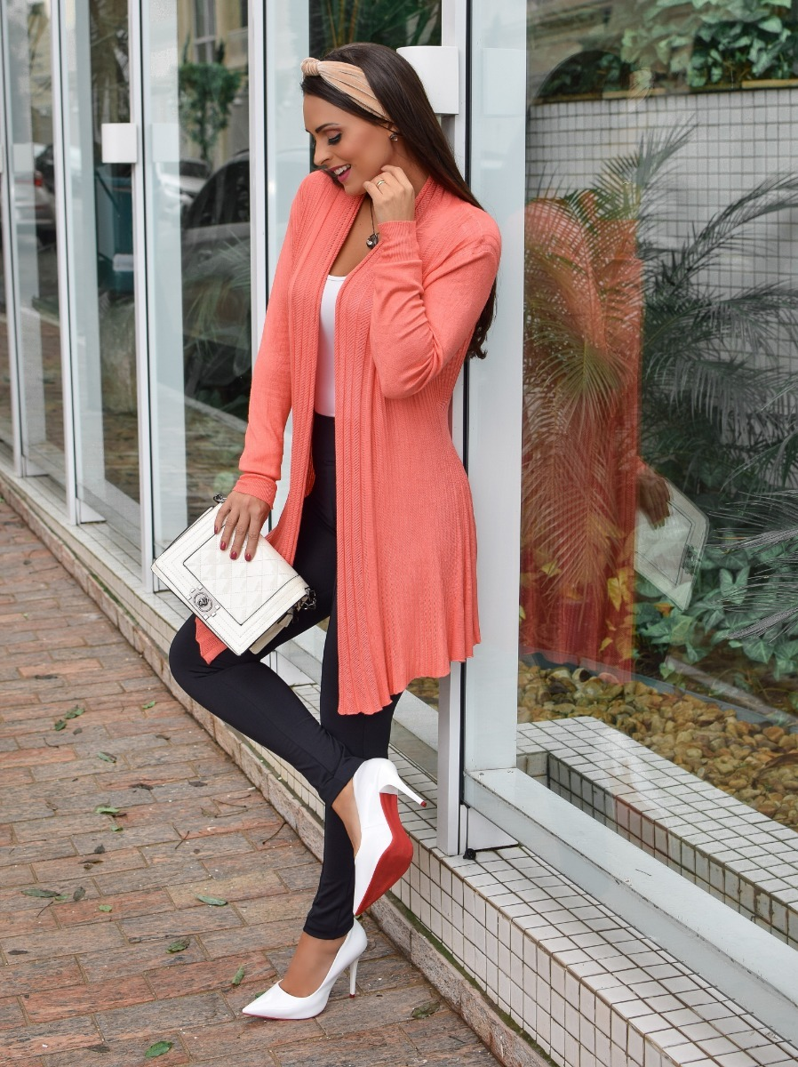 7146ed521 Cardigan Feminino Sueter Kimono Casaco Manga Longa Malha - R$ 49,90 ...