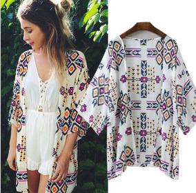 b2315c596a Blusa Kimono Camisa Feminina Cardigan Blog Estampado Étnico