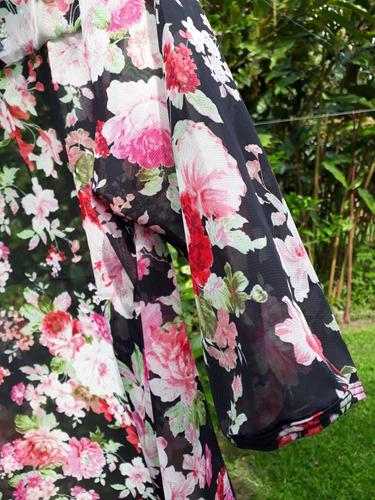 cardigan kimono flores vintage tejido lana