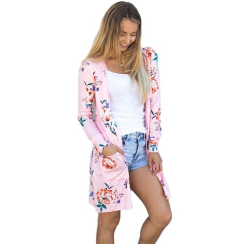 a17d8b3c45e90 Cardigan Mujer Fashion Floral Verano Boho Coat Beach Pink ...