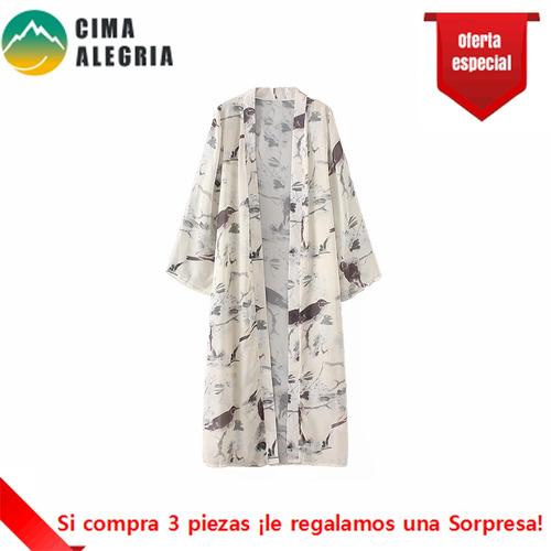 cardigan mujer kimono impresin floral y bird cover up be