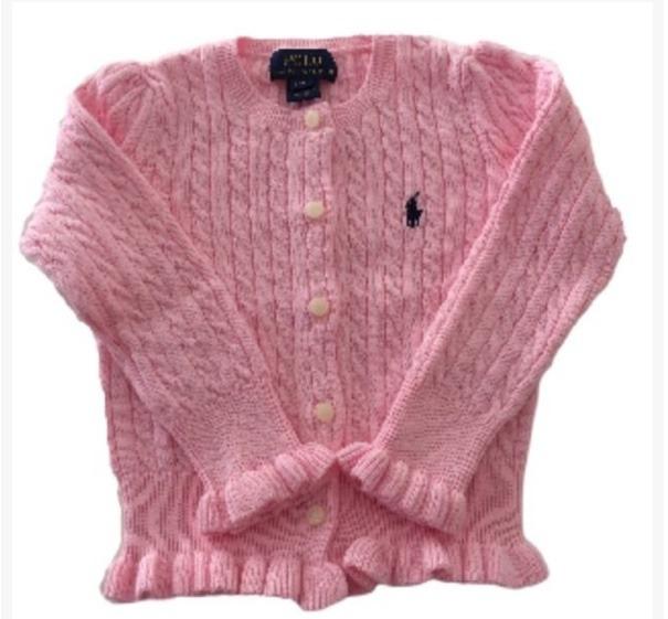 7afc42527bc1b Cardigan Peplum Rosa Infantil Polo Ralph Lauren - R  140