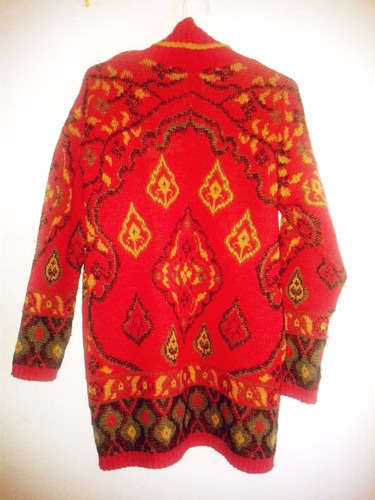 cardigan rojo con motivo tejido, lana gruesa, talle u