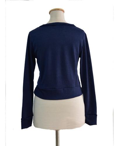 cardigan saquito corto lanilla azul pin up retro diseño