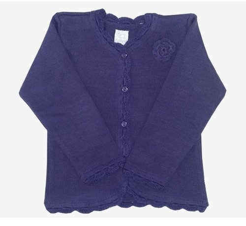 cardigan tejido para niñas color violeta-marca pompas