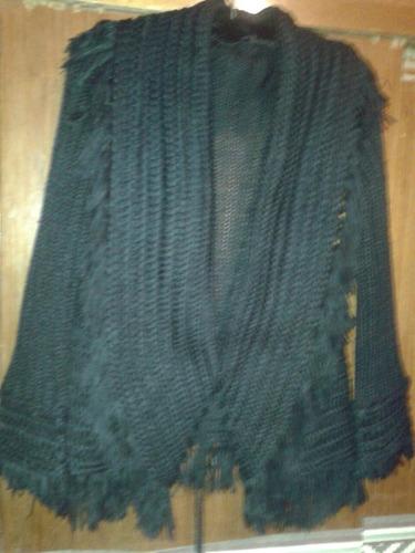 cardigan tramado con flecos negro en lana acrilica