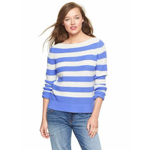 Gap Chompa Talla S Color Celeste Con Blanco