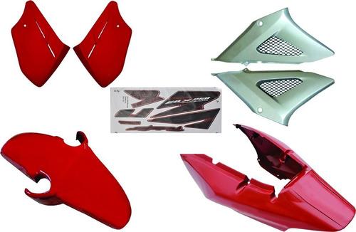 carenagem cbx 250 twister vermelho 2008 kit completo
