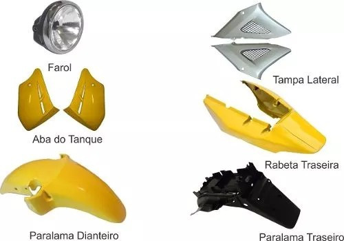 carenagem kit completo c/farol cbx 250 twister  amarelo 2008