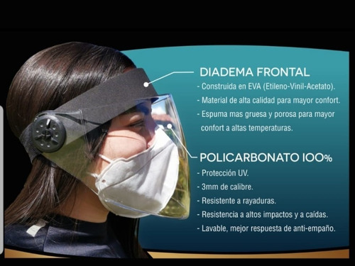careta bioseguridad policarbonat 100% 3mm aperturanasal 15cm