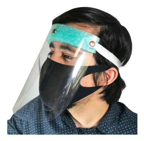 careta con cubrebocas protección facial pvc mayoreo 5 pzs